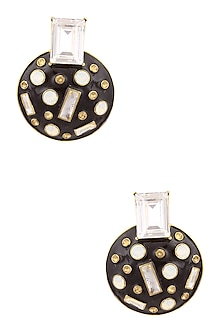 Gold Plated Monochrome Abstract Earrings by Shivan & Narresh X Crystals From Swarovski