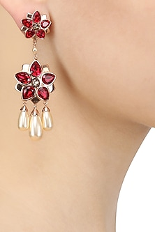 Swarovski Curated Gold Plated Red Floret Earrings by Suneet Varma X Crystals From Swarovski