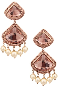 Swarovski Curated Gold Plated Pink Celestial Earrings by Suneet Varma X Crystals From Swarovski