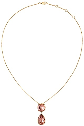 Gold Plated Iridescent Persian Jaal Pendant by Eina Ahluwalia X Crystals From Swarovski