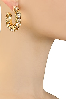 Gold Plated Champagne Egyptian Goddess Earrings by Isharya X Crystals From Swarovski