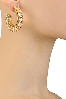 Gold Plated Rose Egyptian Goddess Earrings by Isharya X Crystals From Swarovski