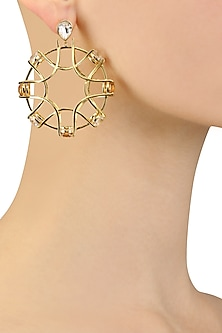 Gold Plated Shimmer White and Rose Swarovski Earrings by Isharya X Crystals From Swarovski
