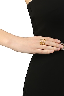 Gold Plated Crossover Fingure Ring by Isharya X Crystals From Swarovski