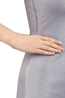 Gold Plated Single Crossover Ring by Isharya X Crystals From Swarovski