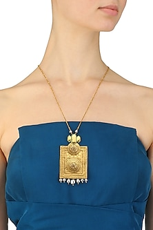 Antique Gold Plated Ranas Of Kachch Rectangle Pendant Necklace by JJ Valaya X Crystals From Swarovski