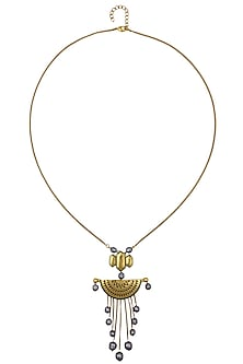 Antique Gold Plated Ranas Of Kachch Half Circle Penant Necklace by JJ Valaya X Crystals From Swarovski