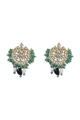Gold Plated Sea Green Beaded Earrings by Riana Jewellery