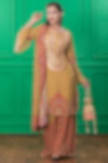 Brown Printed Kurta Set With Potli by CHARU PARASHAR