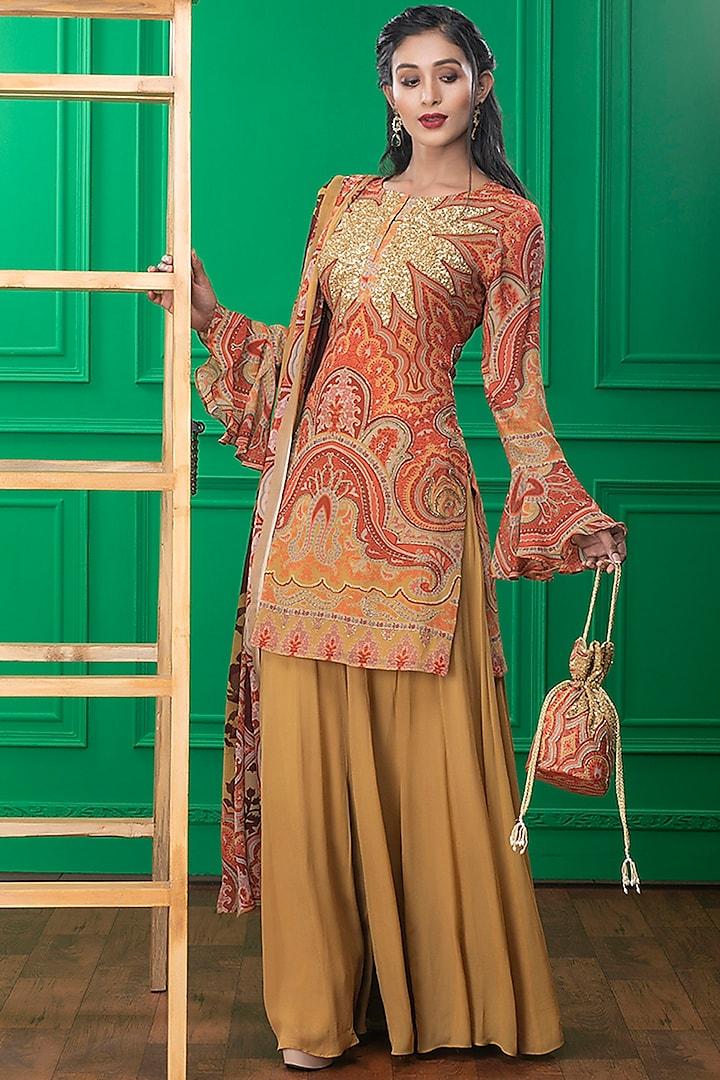 Brown Printed Sharara Set & Potli by CHARU PARASHAR