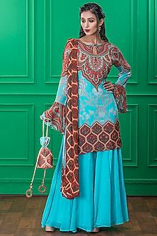 Light Blue Printed Sharara Set With Potli by CHARU PARASHAR-CHARU PARASHAR
