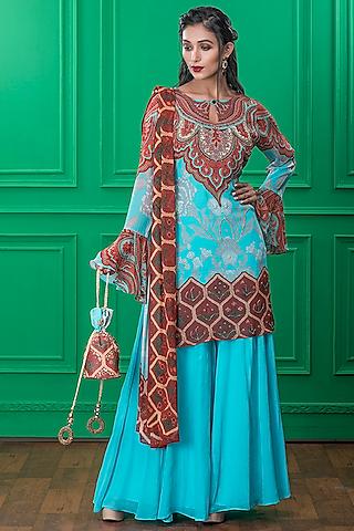 Light Blue Printed Sharara Set With Potli by CHARU PARASHAR