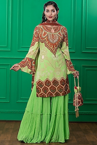 Light Green Printed Sharara Set With Potli by CHARU PARASHAR