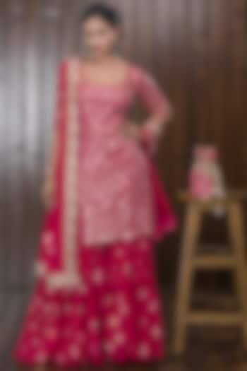 Pink Hand Embellished Sharara Set With Potli by CHARU PARASHAR