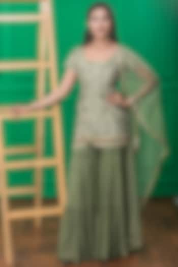 Green Heavy Embroidered Sharara Set by CHARU PARASHAR