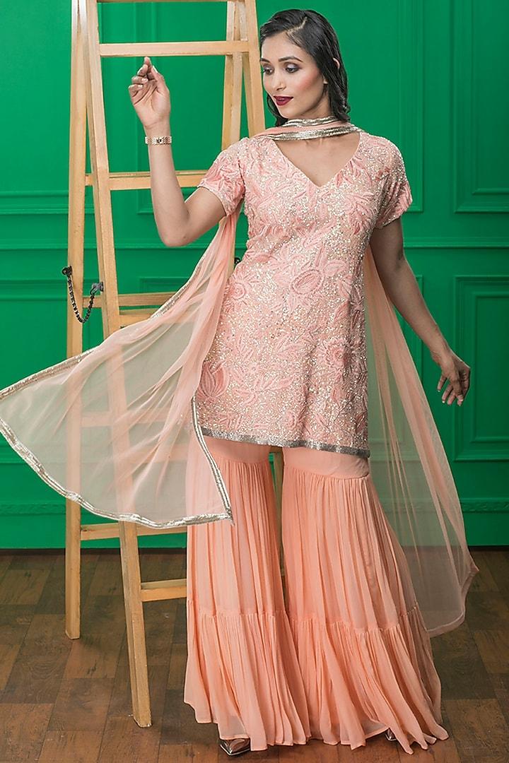 Pink Hand Embroidered Sharara Set by CHARU PARASHAR