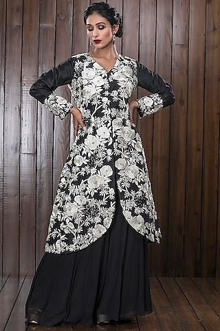 Black Heavy Embroidered Sharara Set by CHARU PARASHAR