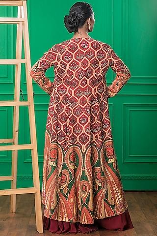 Red Printed Sharara Set by CHARU PARASHAR