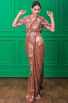 Brown Printed Saree Set by CHARU PARASHAR-CHARU PARASHAR