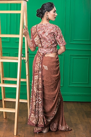Brown Printed Saree Set by CHARU PARASHAR