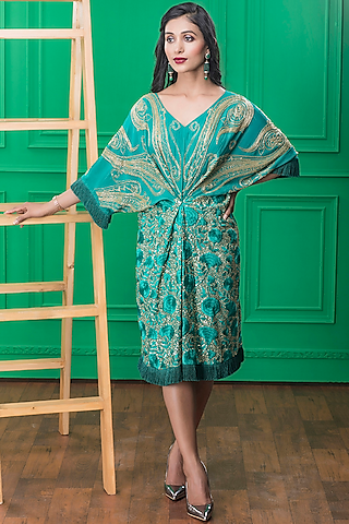 Teal Blue Embroidered Short Dress by CHARU PARASHAR