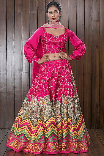 Pink Embroidered Lehenga Set by CHARU PARASHAR