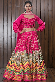 Pink Embroidered Lehenga Set by CHARU PARASHAR-CHARU PARASHAR