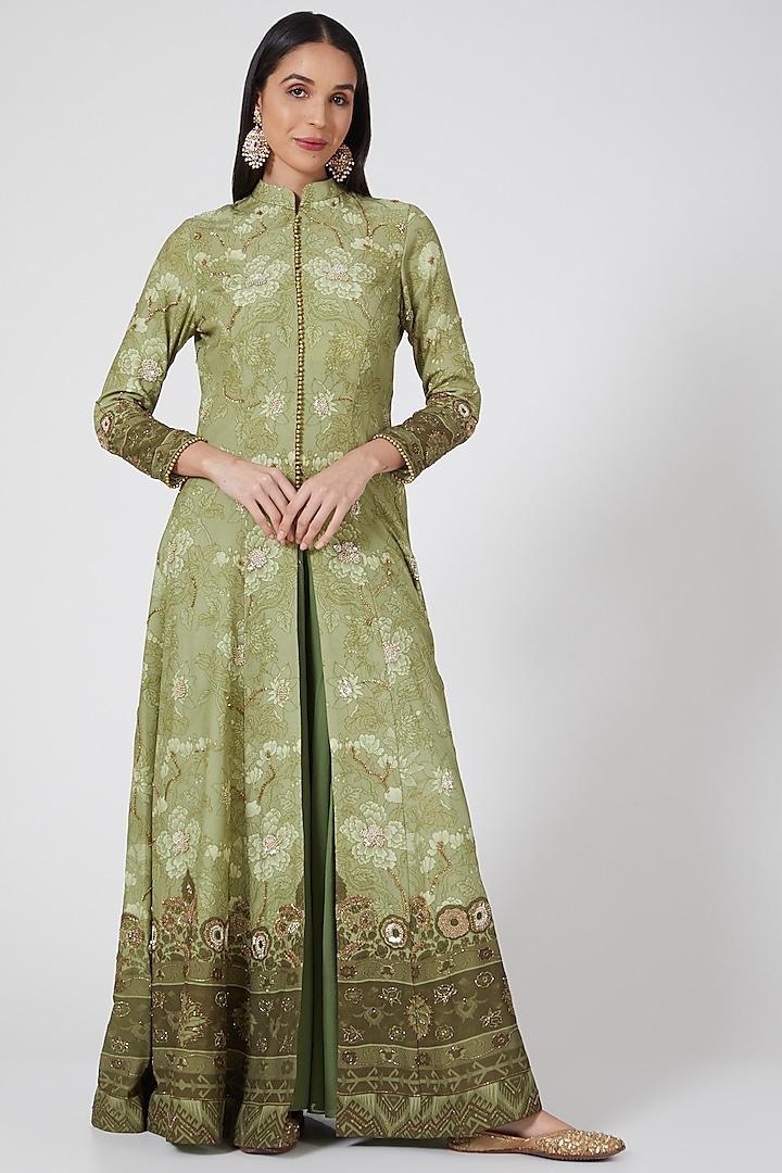 Pista Green Hand Embellished Long Jacket by CHARU PARASHAR