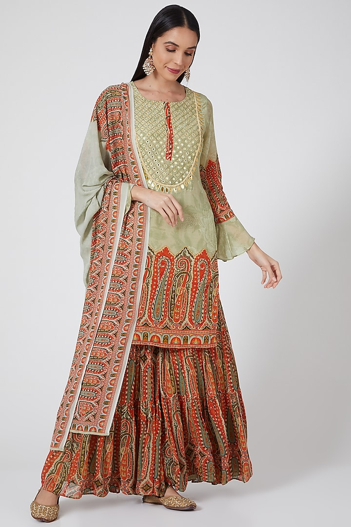 Pista Green Digital Printed Sharara Set by CHARU PARASHAR