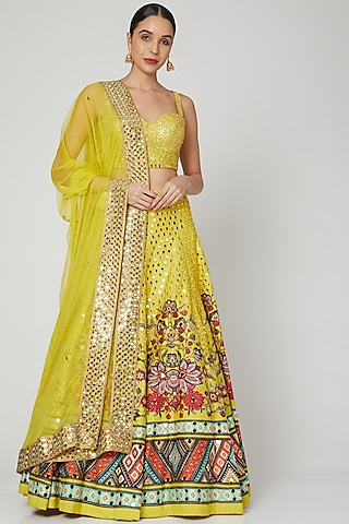 Yellow Printed & Embroidered Lehenga Set by CHARU PARASHAR
