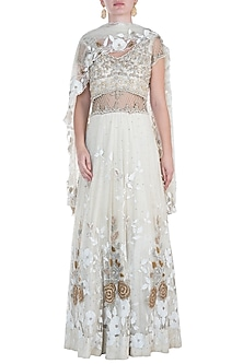 Ivory embroidered net anarkali gown with dupatta by CAIPIROSKA