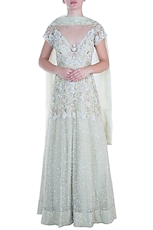 Pistachio green embroidered net anarkali gown with dupatta by CAIPIROSKA