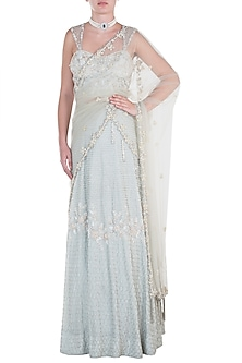 Ice blue embroidered lehenga set by CAIPIROSKA