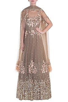 Taupe embroidered anarkali gown with dupatta by CAIPIROSKA