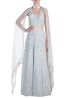 Silver grey embroidered lehenga set by CAIPIROSKA