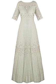 Pistachio green embroidered anarkali gown with dupatta by CAIPIROSKA