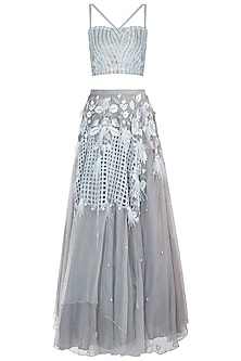 Grey embroidered lehenga set by CAIPIROSKA