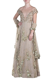 Nude embroidered anarkali gown with dupatta by CAIPIROSKA