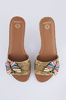 Beige Butterfly Accent Flats by Crimzon