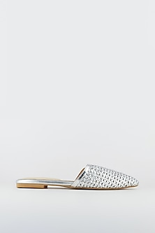 Silver Faux Leather Mule Flats by Crimzon