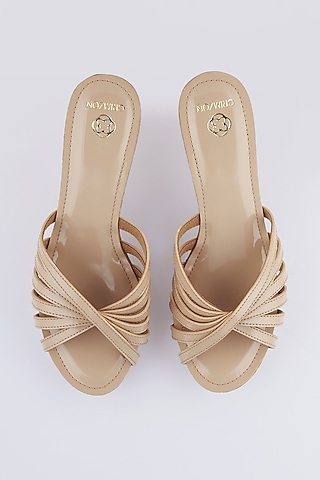 Nude Faux Leather Wedges by Crimzon