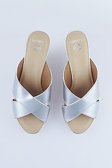 Silver Cross Strap Sandals With Cork Platform by Crimzon