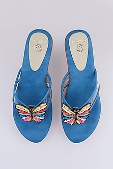 Blue Butterfly Embroidered Strap Sandals by Crimzon