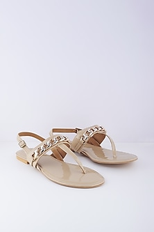 Ivory Sandals With Gold Chain by Crimzon