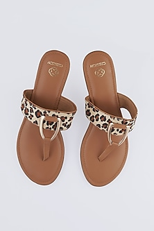 Tan Leopard Printed Flats by Crimzon