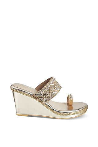 Gold Kolhapuri Wedges With Embellishments by Crimzon