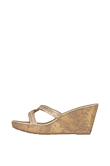 Gold Faux Leather Wedges With Braided Cords by Crimzon-POPULAR PRODUCTS AT STORE