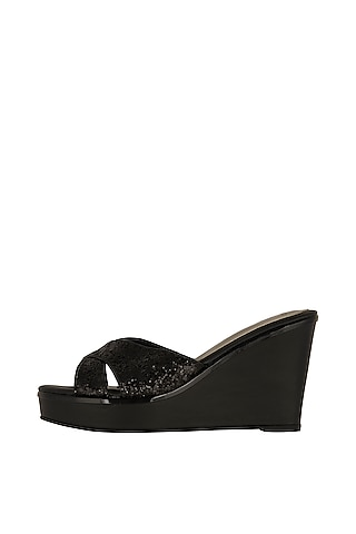 Black Faux Leather Wedges With 4 Inch Heels by Crimzon