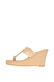 Beige Kolhapuri Style Wedges by Crimzon