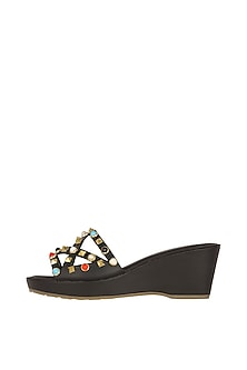 Black Faux Leather Flats With Multi Colored Stones by Crimzon